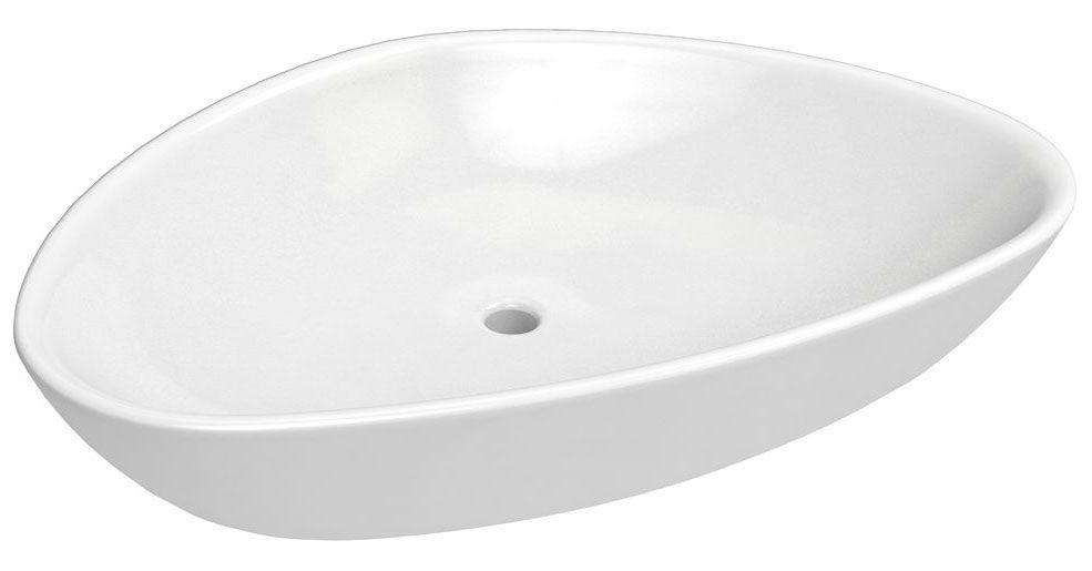 Bad - Waschbecken Dhule 11, Farbe: Weiß – 14 x 59 x 39 cm (H x B x T)