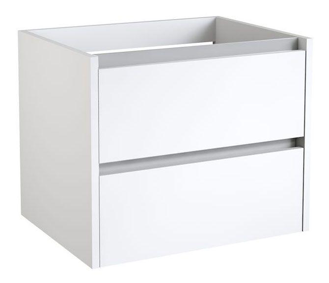 Waschtischunterschrank Kolkata 04 mit Siphonausschnitt, Farbe: Weiß glänzend - 50 x 60 x 46 cm (H x B x T)