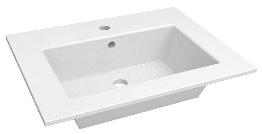 Bad - Waschbecken Surat 01, Farbe: Weiß – 14 x 62 x 47 cm (H x B x T)