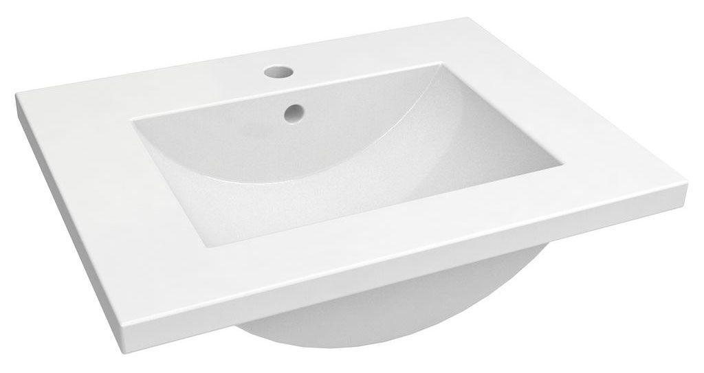 Bad - Waschbecken Bokaro 01, Farbe: Weiß – 18 x 62 x 47 cm (H x B x T)
