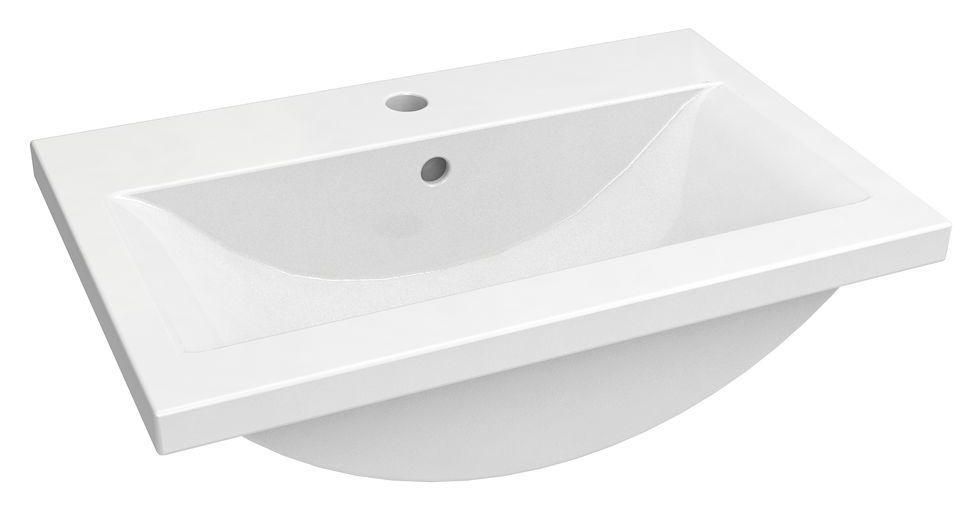 Bad - Waschbecken Jammu 02, Farbe: Weiß – 18 x 61 x 39 cm (H x B x T)
