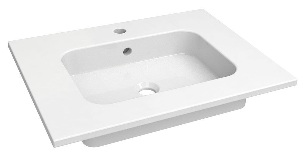 Bad - Waschbecken Dhule 03, Farbe: Weiß – 14 x 61 x 36 cm (H x B x T)