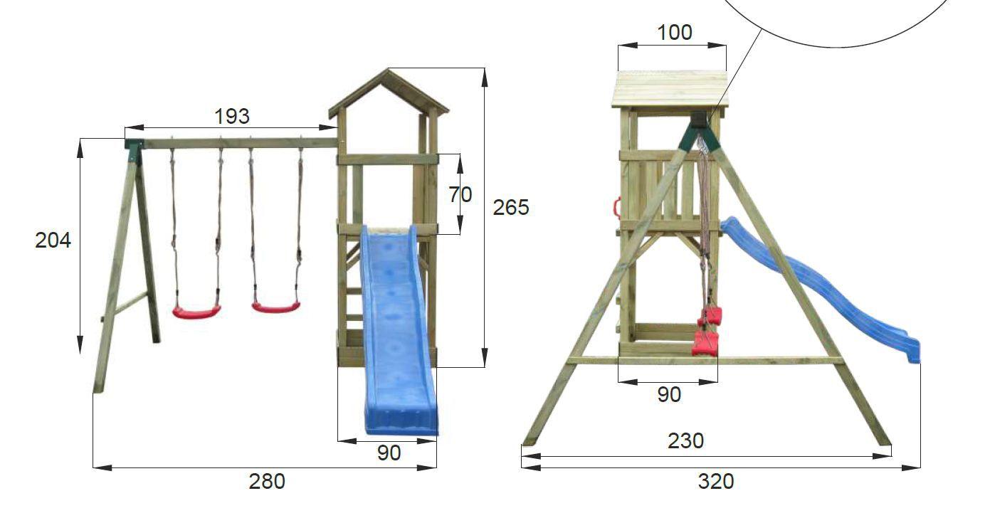 Spielturm mit Schaukel und Rutsche