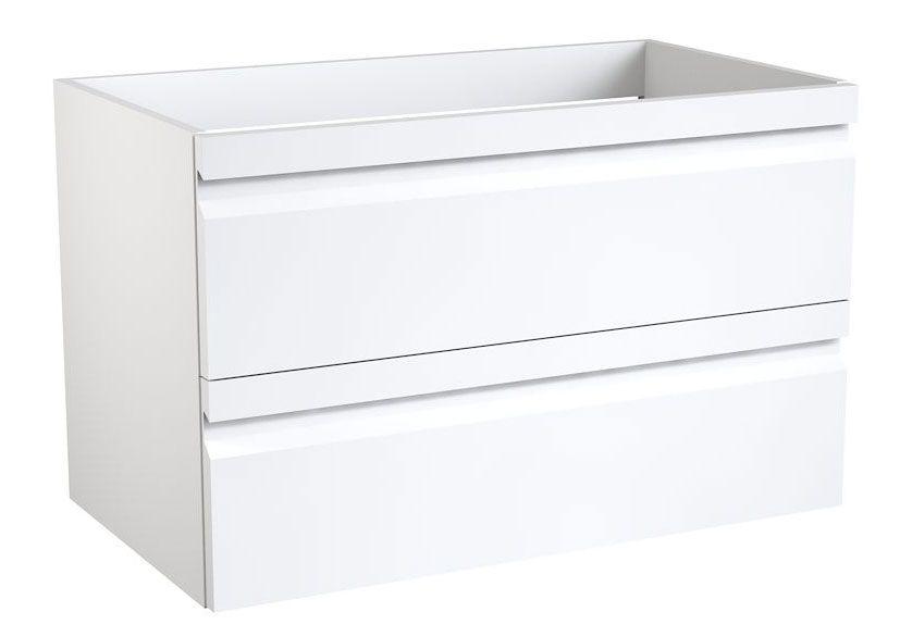 Waschtischunterschrank Bikaner 03 mit Siphonausschnitt, Farbe: Weiß glänzend – 50 x 79 x 45 cm (H x B x T)