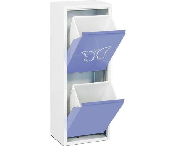 Metallschrank mit 2 Behälter in Weiß/Violett Schmetterling - Maße: 92 x 33,50 x 25 cm (H x B x T)