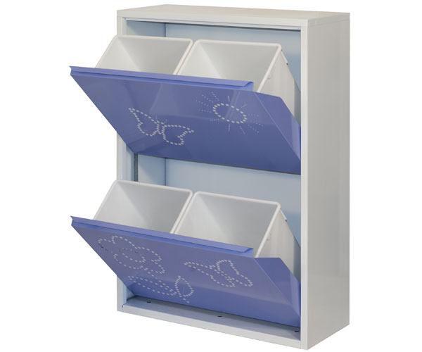 Metallschrank mit 4 Behälter in Weiß/Violett Schmetterling - Maße: 92 x 63 x 25 cm (H x B x T)