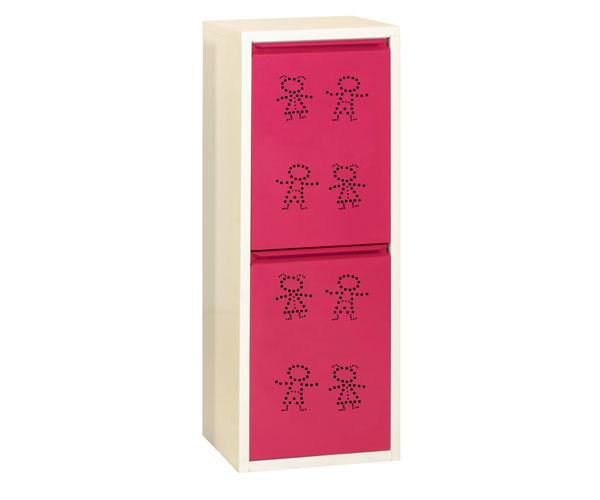 Metallschrank mit 2 Behälter in Weiß/Rosa Figuren - Maße: 92 x 33,50 x 25 cm (H x B x T)