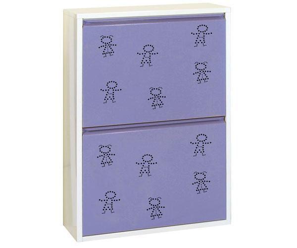 Metallschrank mit 4 Behälter in Weiß/Violett Figuren - Maße: 92 x 63 x 25 cm (H x B x T)