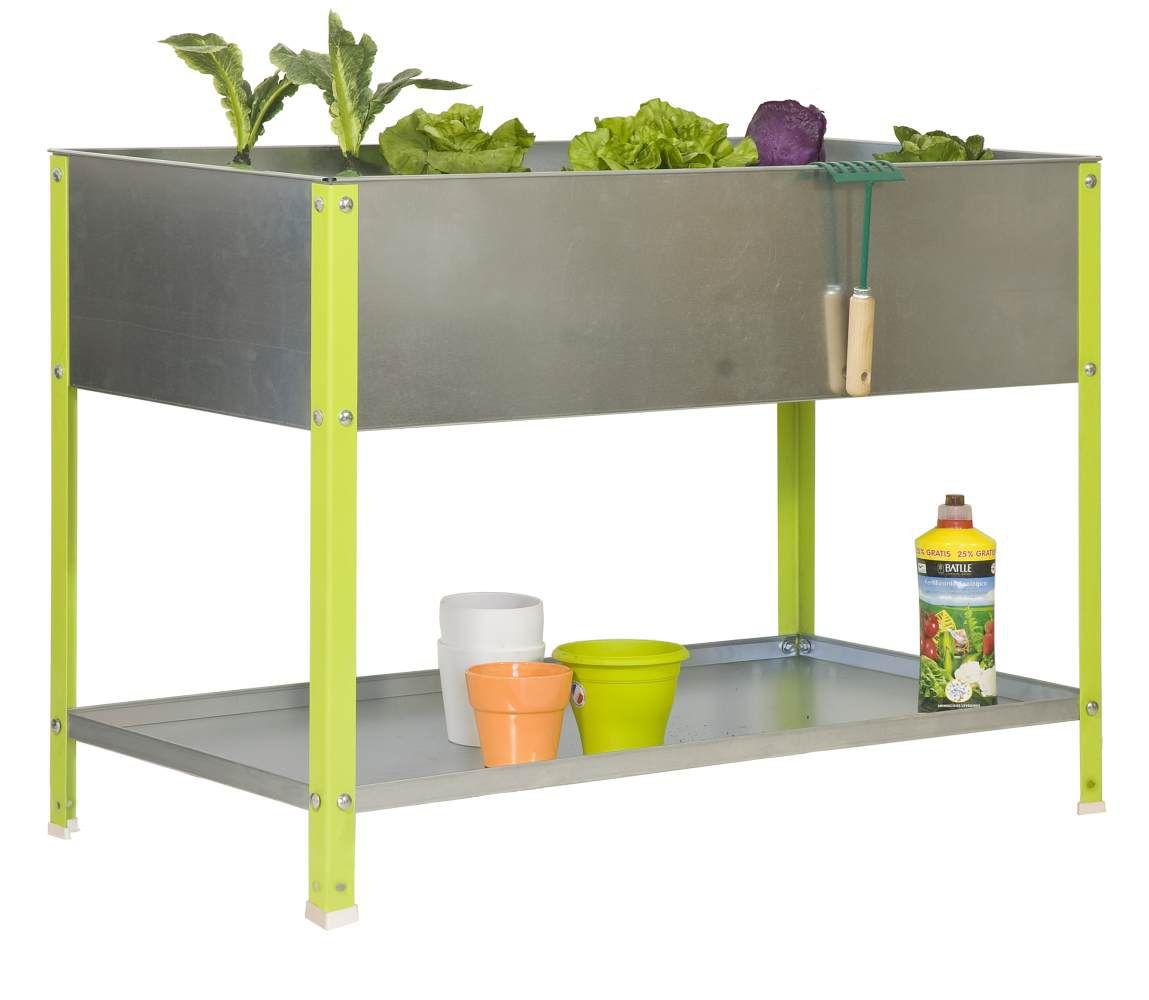 Pflanzbox Hochbeet Urban Garden Top, Farbe: Verzinkt / Grün, Maße: 85 x 90 x 60 cm (H x B x T)