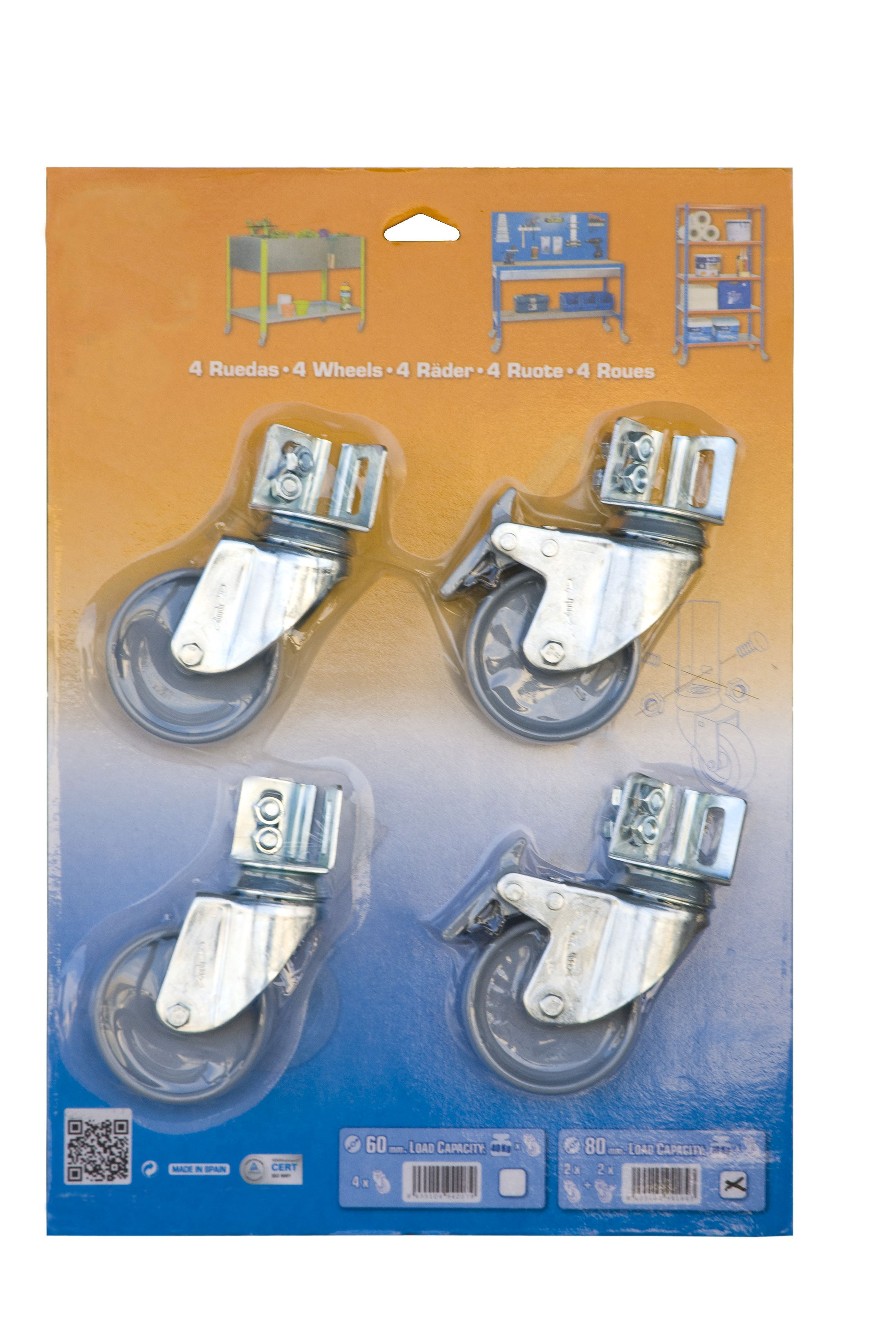 Räder Blister B - 4 Stück  (2 Stück mit Bremsen)