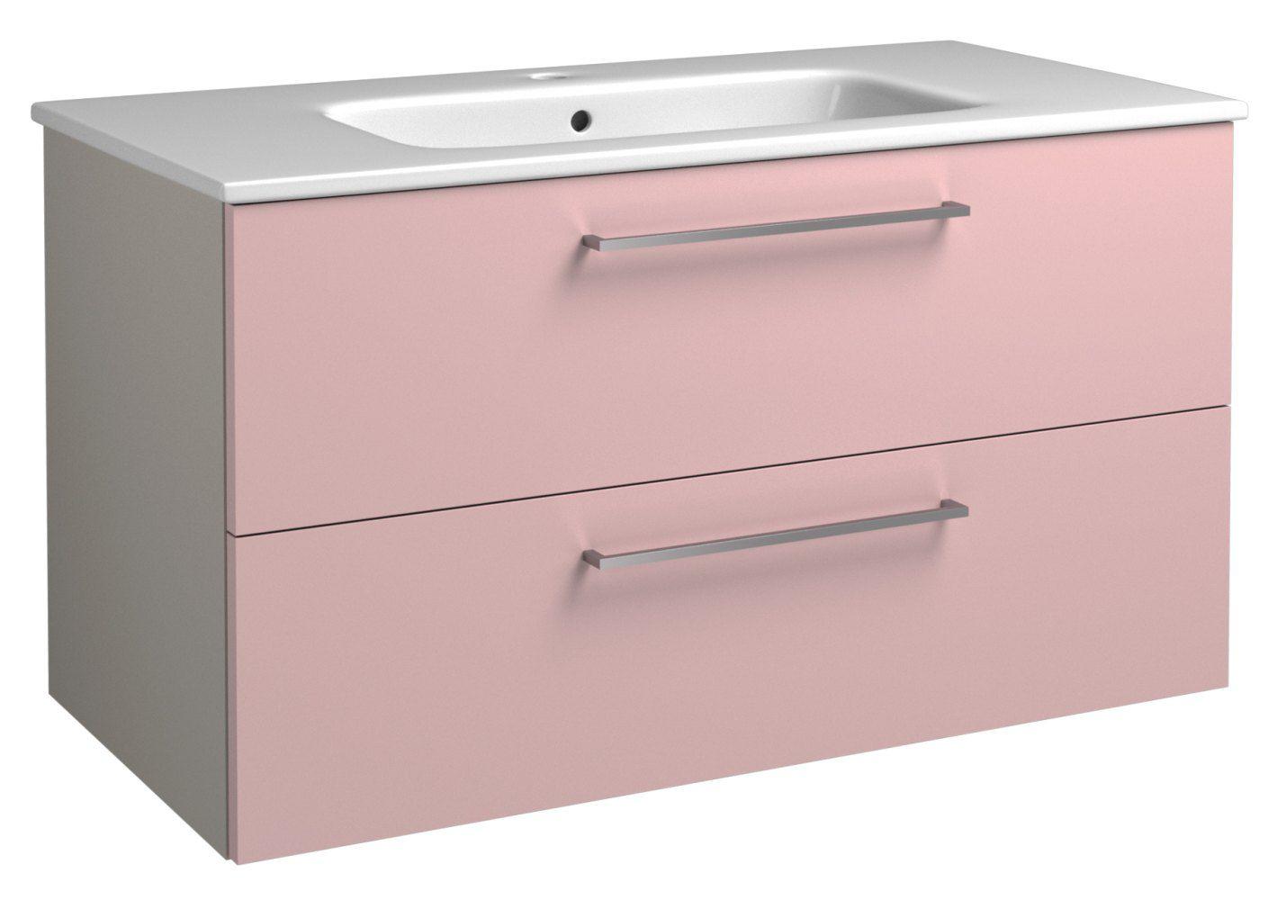 Waschtischunterschrank Noida 20, Farbe: Beige / Rosa – 50 x 91 x 46 cm (H x B x T)