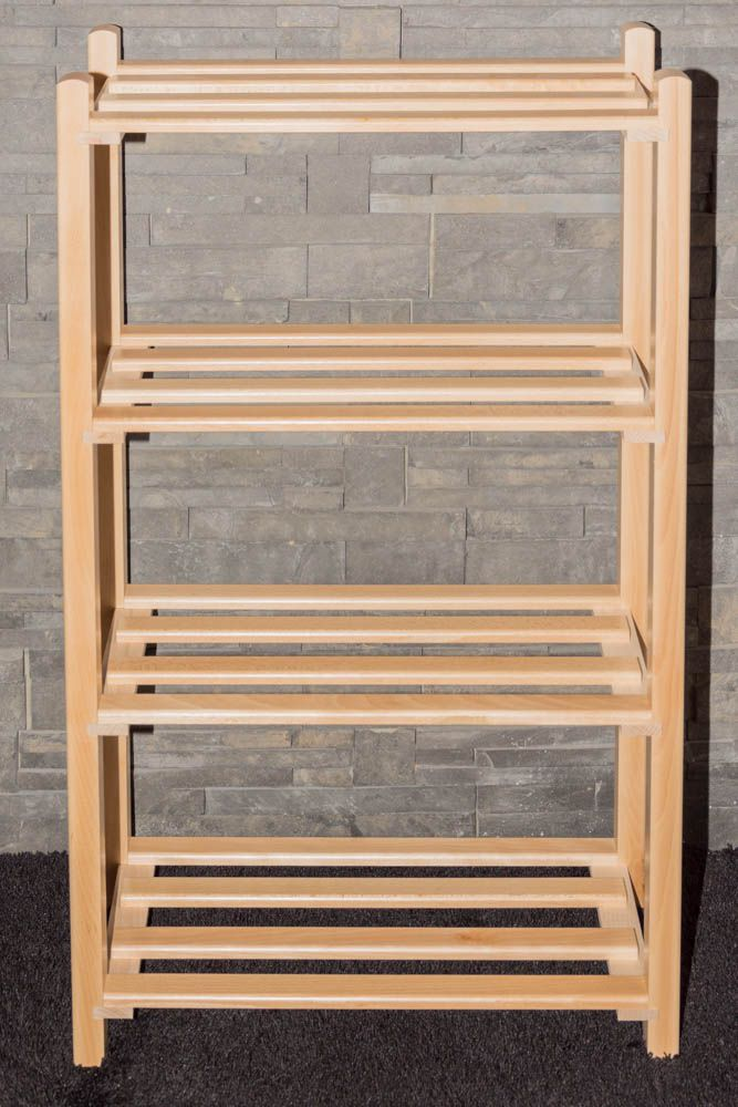 Schuhregal Buche Vollholz massiv natur Junco 223 - Abmessungen: 100 x 58 x 28 cm (H x B x T)