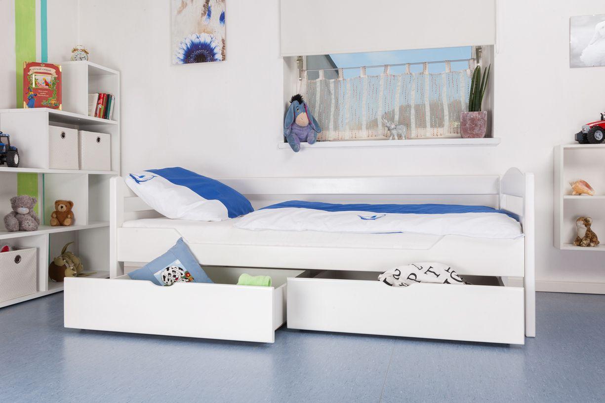 """Kinderbett / Jugendbett """"Easy Premium Line"""" K1/n/s inkl 2 Schubladen und 2 Abdeckblenden, 90 x 200 cm Buche Vollholz massiv weiß lackiert"""
