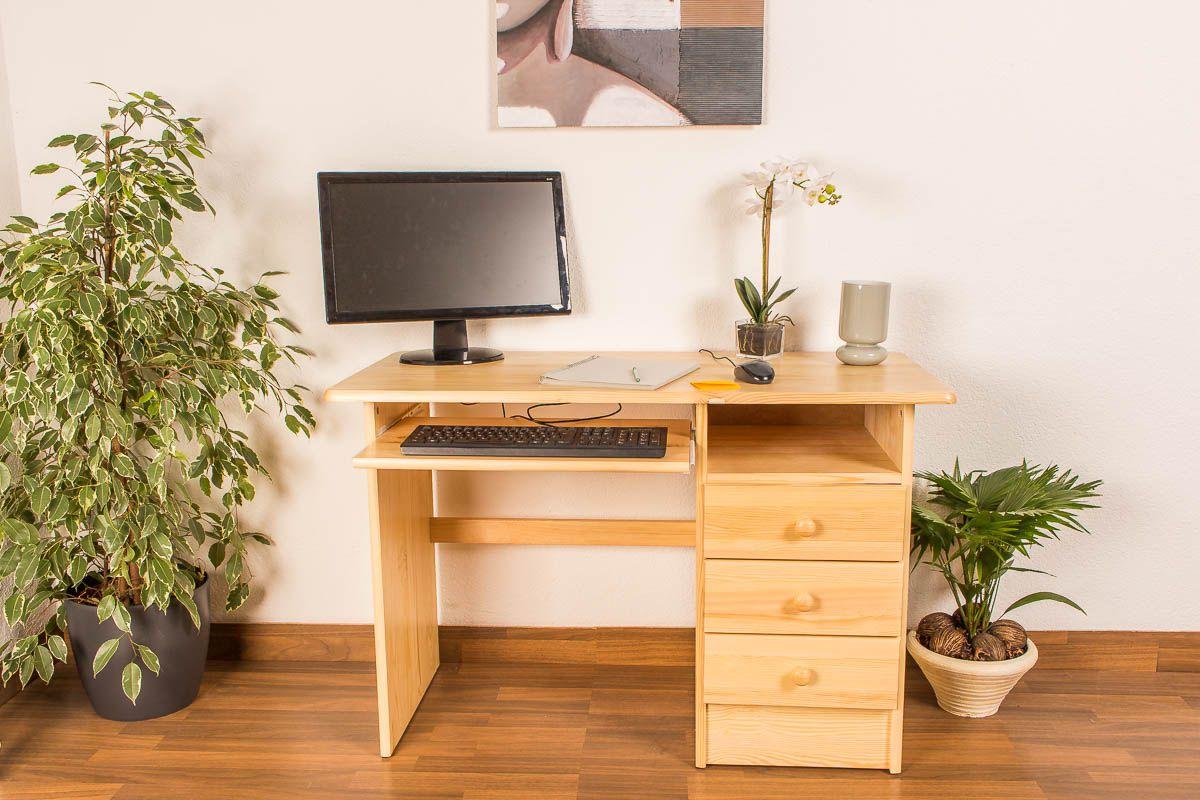 Schreibtisch Kiefer massiv Vollholz natur 001 - Abmessung 74 x 100 x 55 cm (H x B x T)