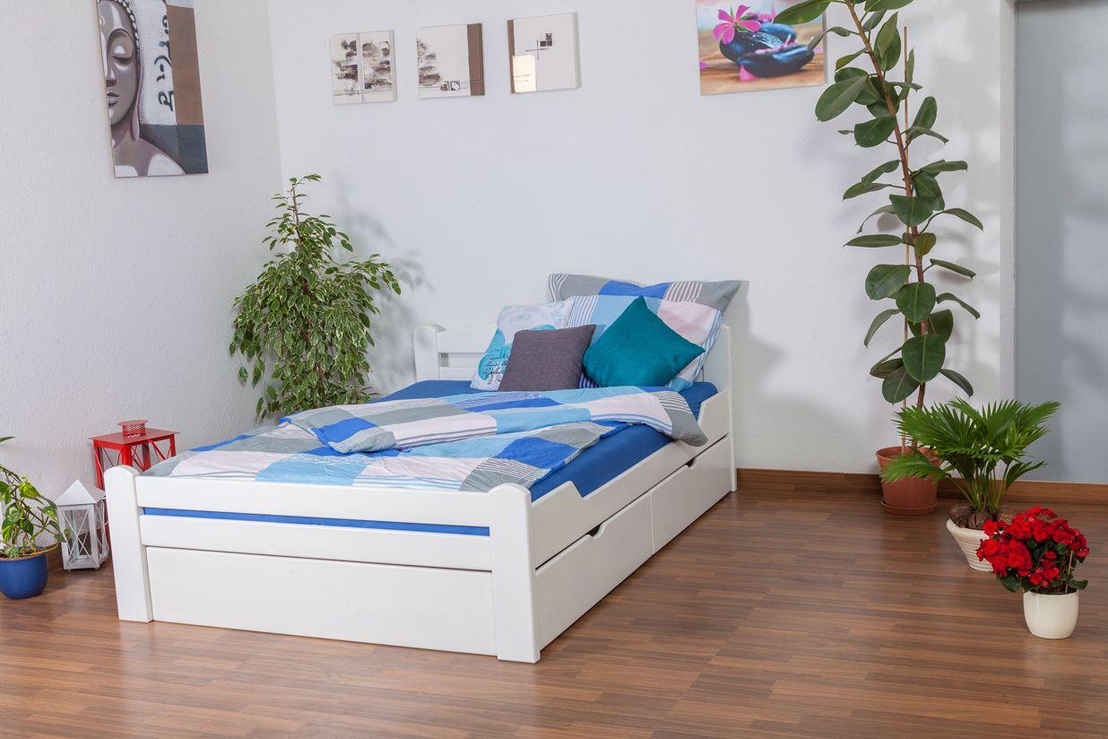 """Jugendbett """"Easy Premium Line"""" K4, inkl. 2 Schubladen und 1 Abdeckblende, 140 x 200 cm Buche Vollholz massiv weiß lackiert"""