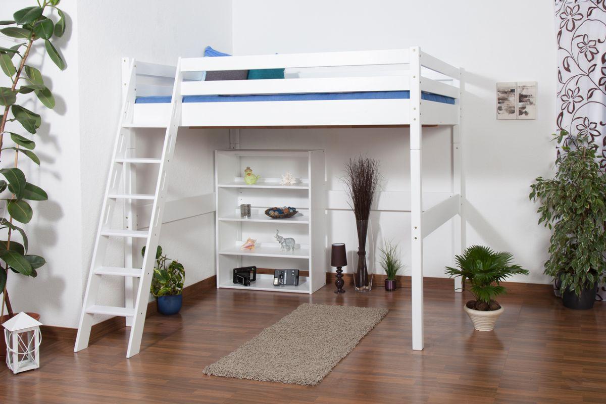 Kinderbett Hochbett Christoph Buche Vollholz massiv weiß lackiert inkl. Rollrost - 140 x 200 cm