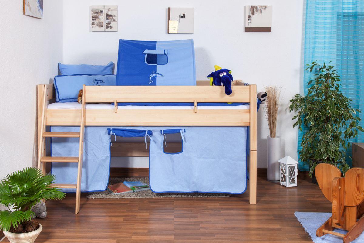 Kinderbett Hochbett Tom inkl. Rollrost - Material: Buche massiv natur,  Farbe: klar lackiert