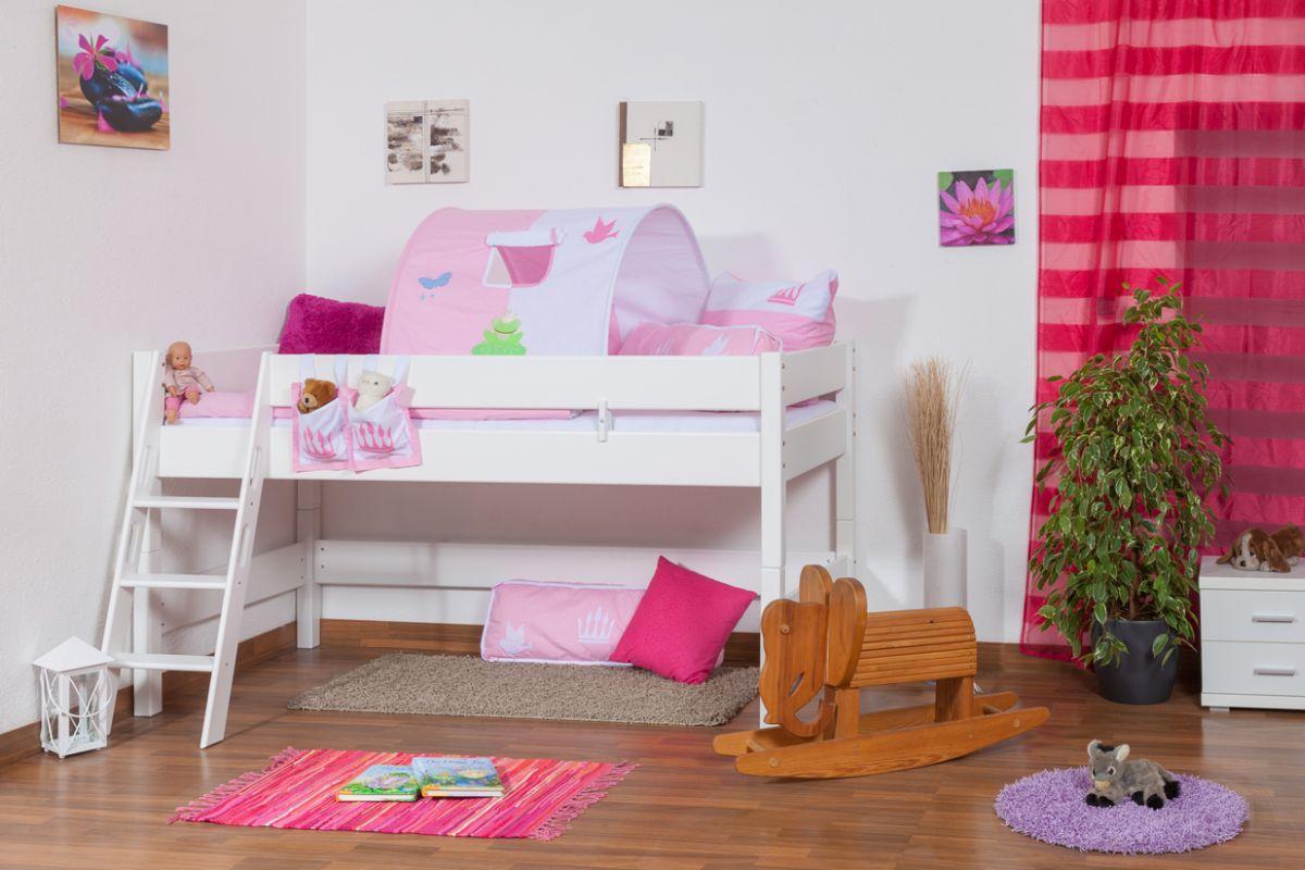 weißes Hochbett für Kinder - Buche Massivholz 90x200 cm