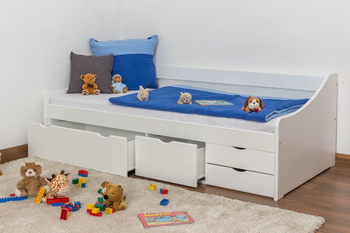 Jugendbett / Funktionsbett Kiefer massiv Vollholz weiß lackiert 94, inkl. Lattenrost - 90 x 200 cm