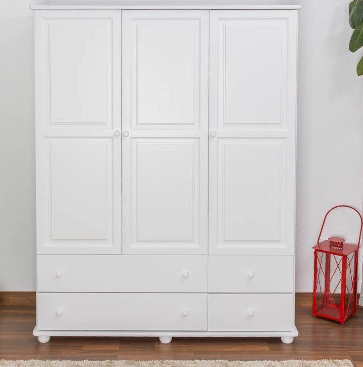Kleiderschrank Kiefer Vollholz massiv weiß lackiert Junco 03 - Abmessung 195 x 155 x 59 cm