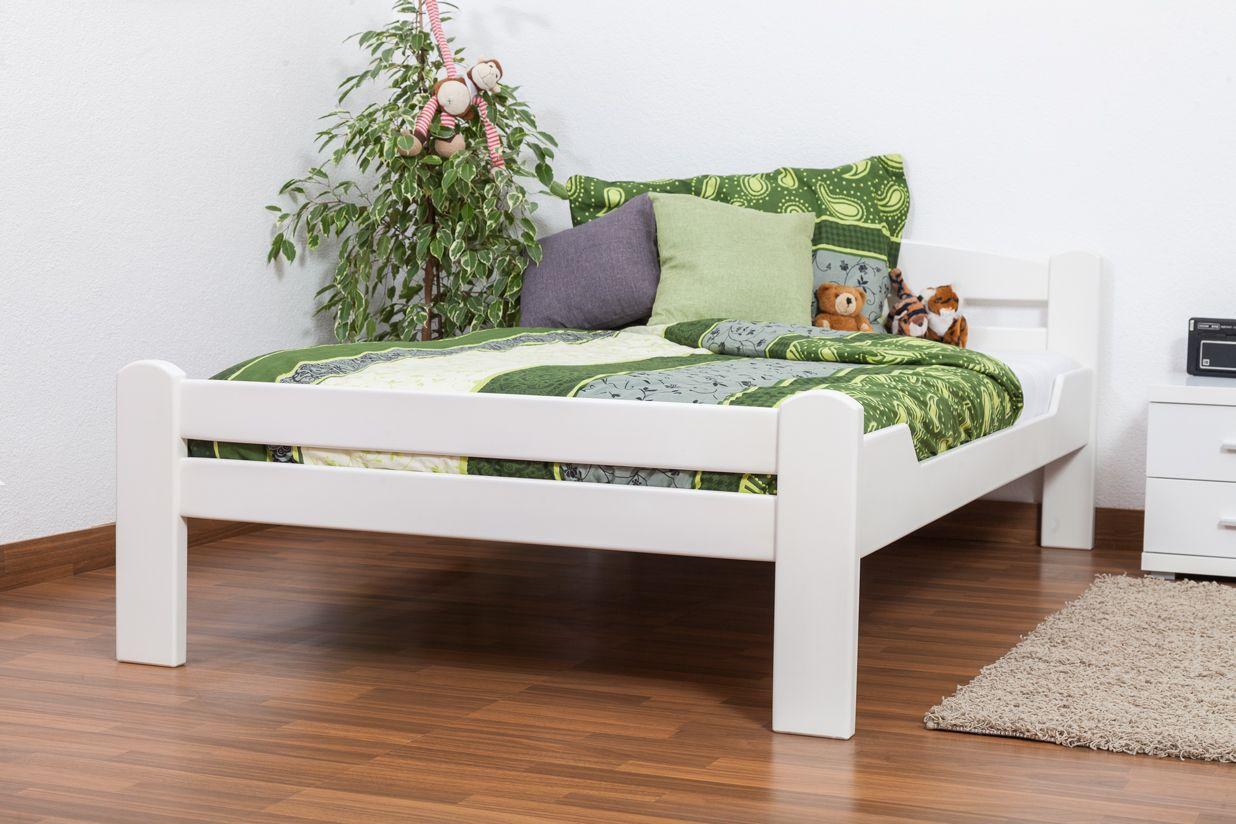 """Einzelbett / Gästebett """"Easy Premium Line"""" K4, 120 x 200 cm Buche Vollholz massiv weiß lackiert"""