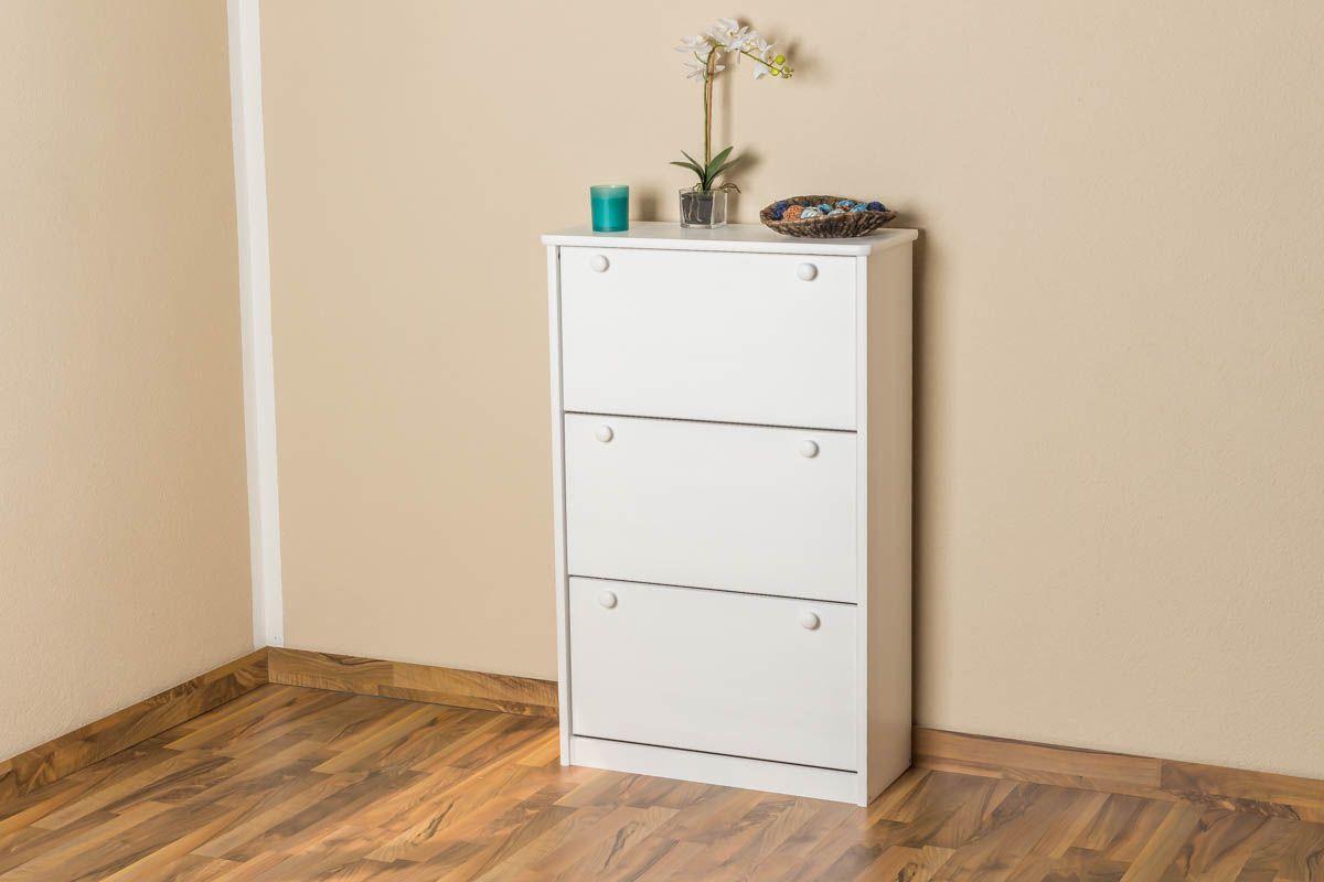 Schuhschrank Kiefer Vollholz massiv weiß lackiert Junco 212 - Abmessung 115 x 72 x 30 cm
