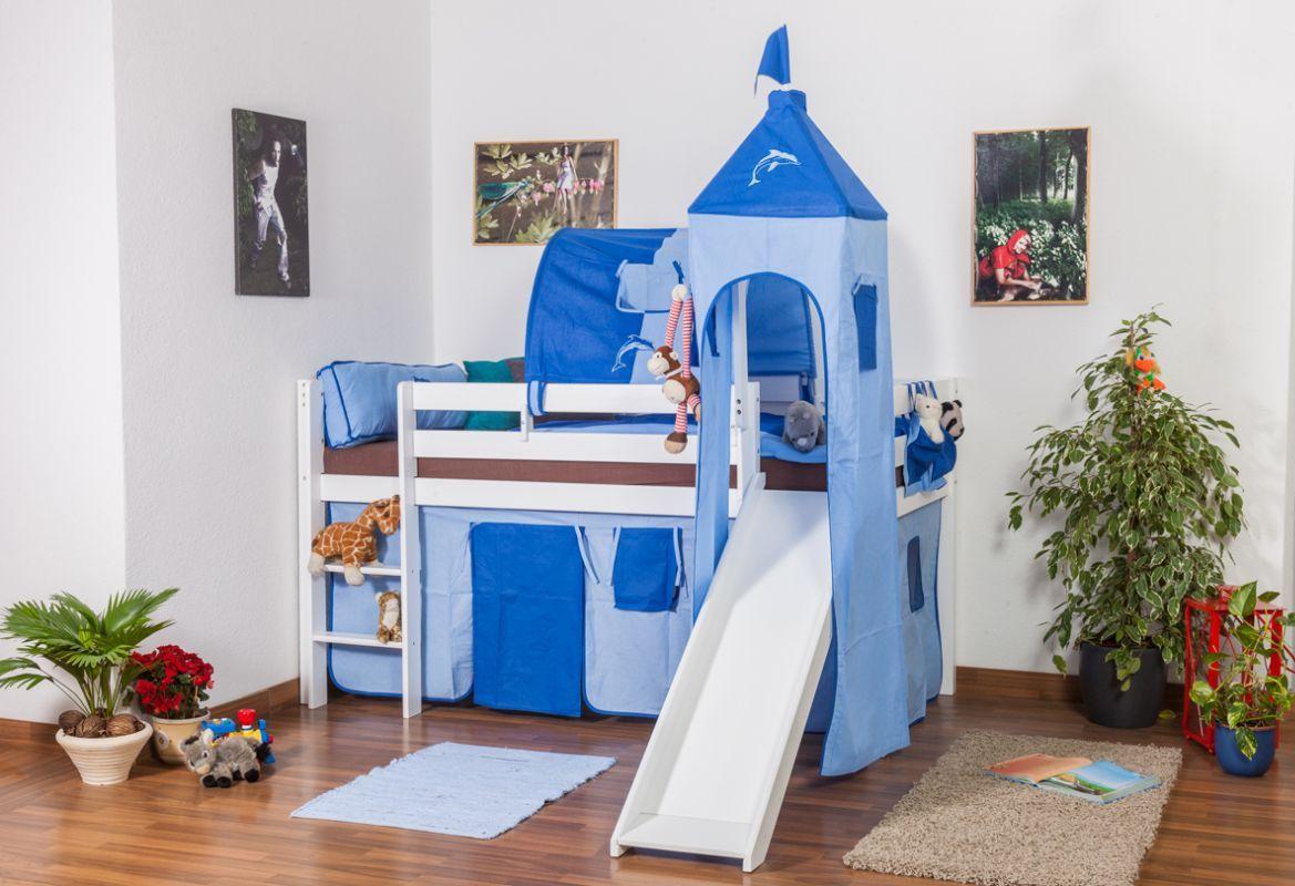 Kinderbett Hochbett Andi Buche Vollholz massiv mit Rutsche und Turm weiß lackiert inkl. Rollrost - 90 x 200 cm
