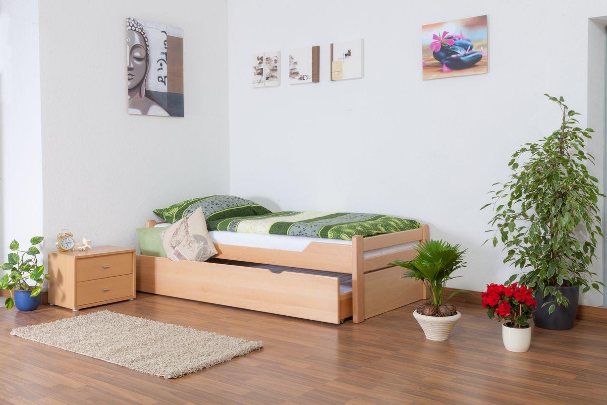 """Einzelbett / Gästebett """"Easy Premium Line"""" K1/1h inkl. 2. Liegeplatz und 2 Abdeckblenden, 90 x 200 cm Buche Vollholz massiv Natur"""