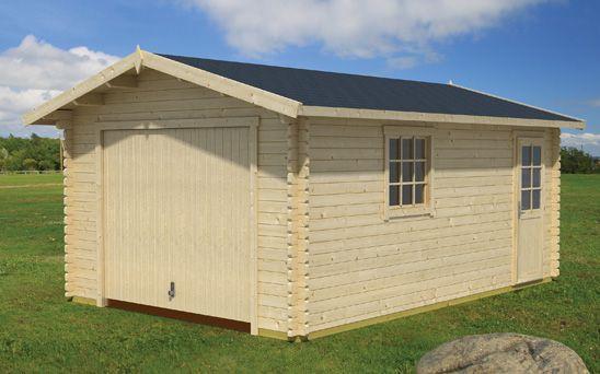 Holzgarage H160 inkl. Schwingtor - 44 mm Blockbohlenhaus, Grundfläche: 19,40 m², Satteldach