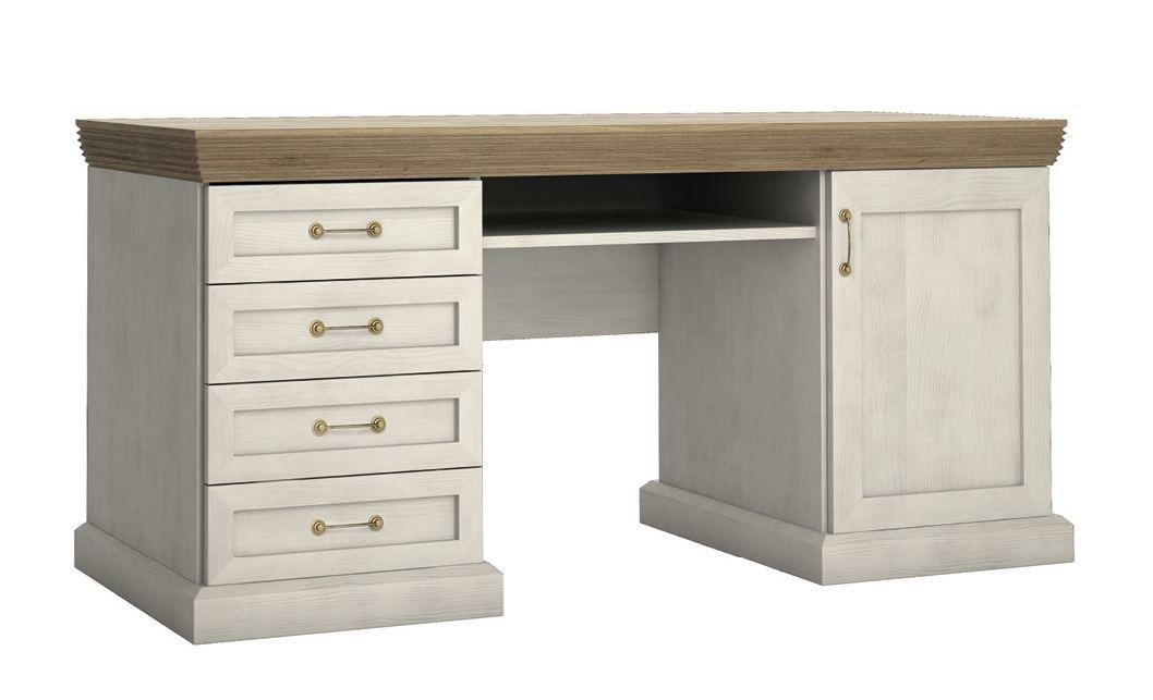 Schreibtisch Badile 17, Farbe: Kiefer Weiß / Braun - 80 x 147 x 55 cm (H x B x T)