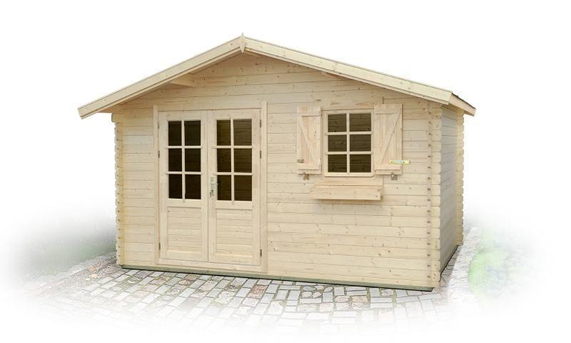 Gartenhaus PO10 - 34 mm Blockbohlenhaus, Grundfläche: 11,90 m², Satteldach