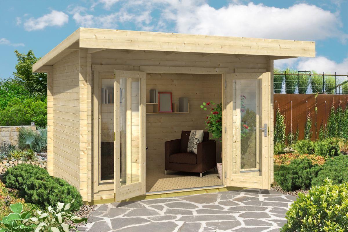 Gartenhaus G167 inkl. Fußboden - 44 mm Blockbohlenhaus, Grundfläche: 7,90 m², Pultdach
