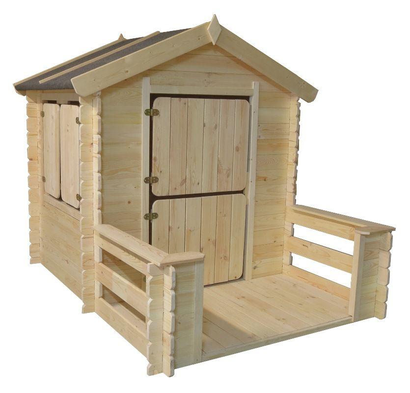 Kinder-Spielhaus Play Park - 1,75 x 1,30 Meter aus 19mm Blockbohlen