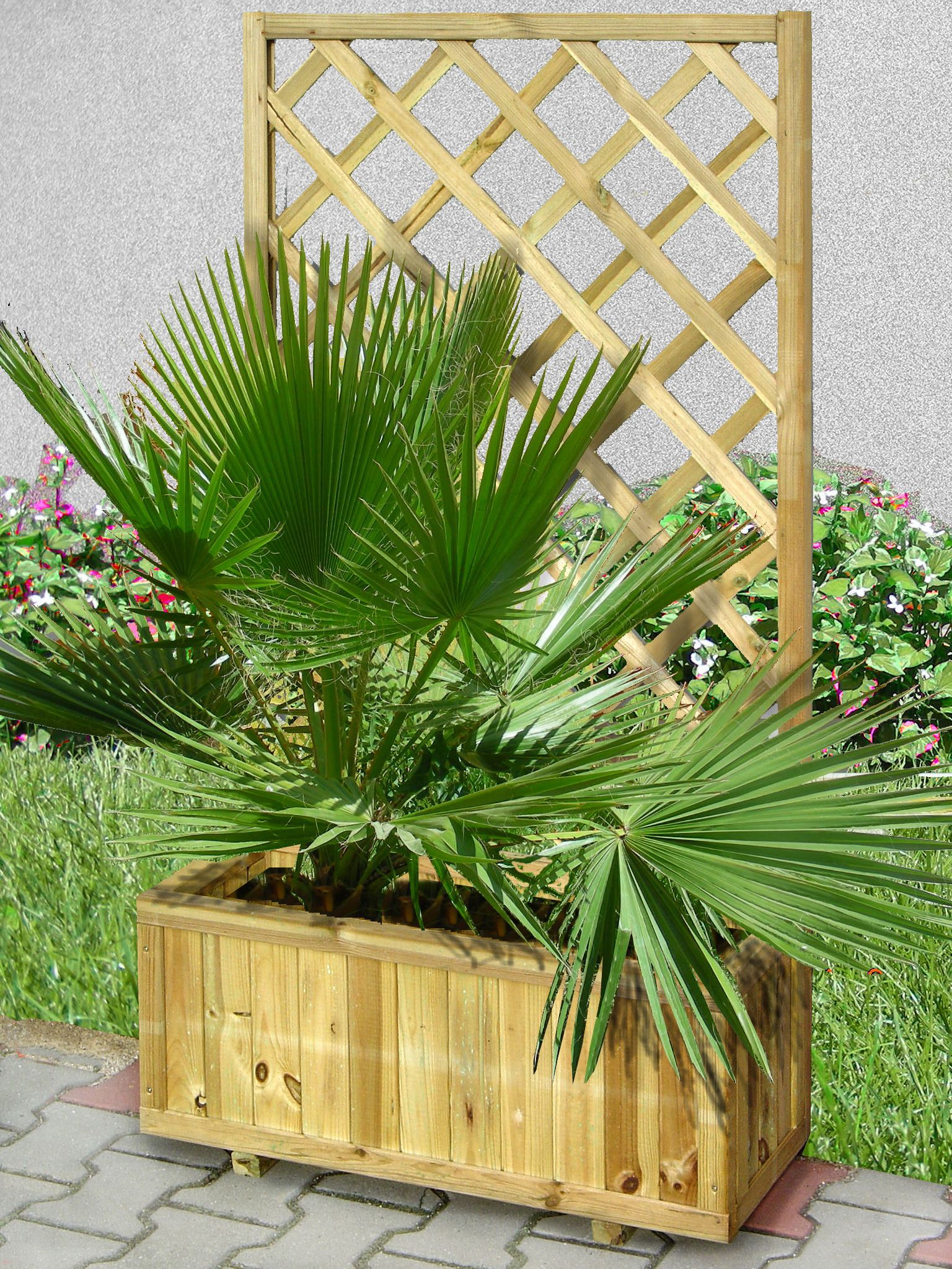 Blumenkasten mit Rankgitter Zizania 02 - 75 x 30 x 180 cm (B x T x H)