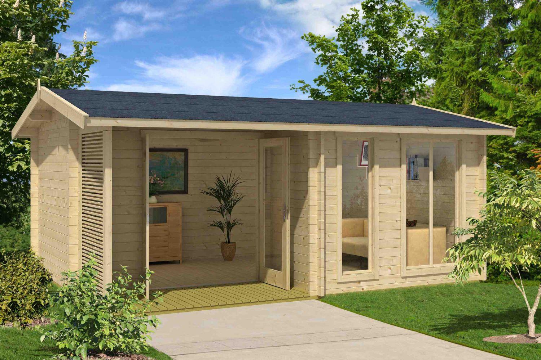 Gartenhaus G169 inkl. Fußboden und Terrasse - 44 mm Blockbohlenhaus, Grundfläche: 19,20 m², Satteldach