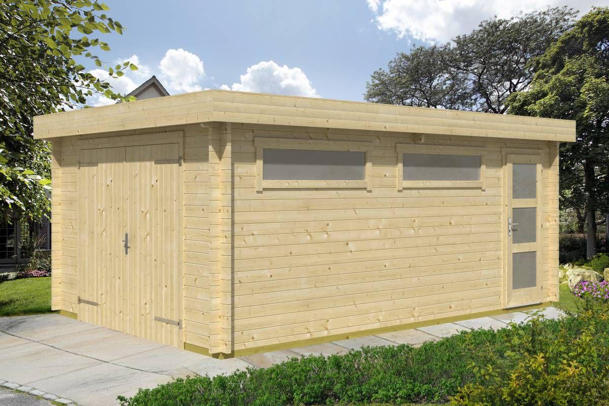Holzgarage H26 - 44 mm Blockbohlenhaus, Grundfläche: 19,40 m², Flachdach