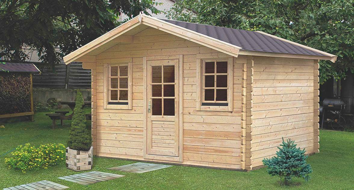 Gartenhaus CH10 - 44 mm Blockbohlenhaus, Grundfläche: 11,90 m², Satteldach