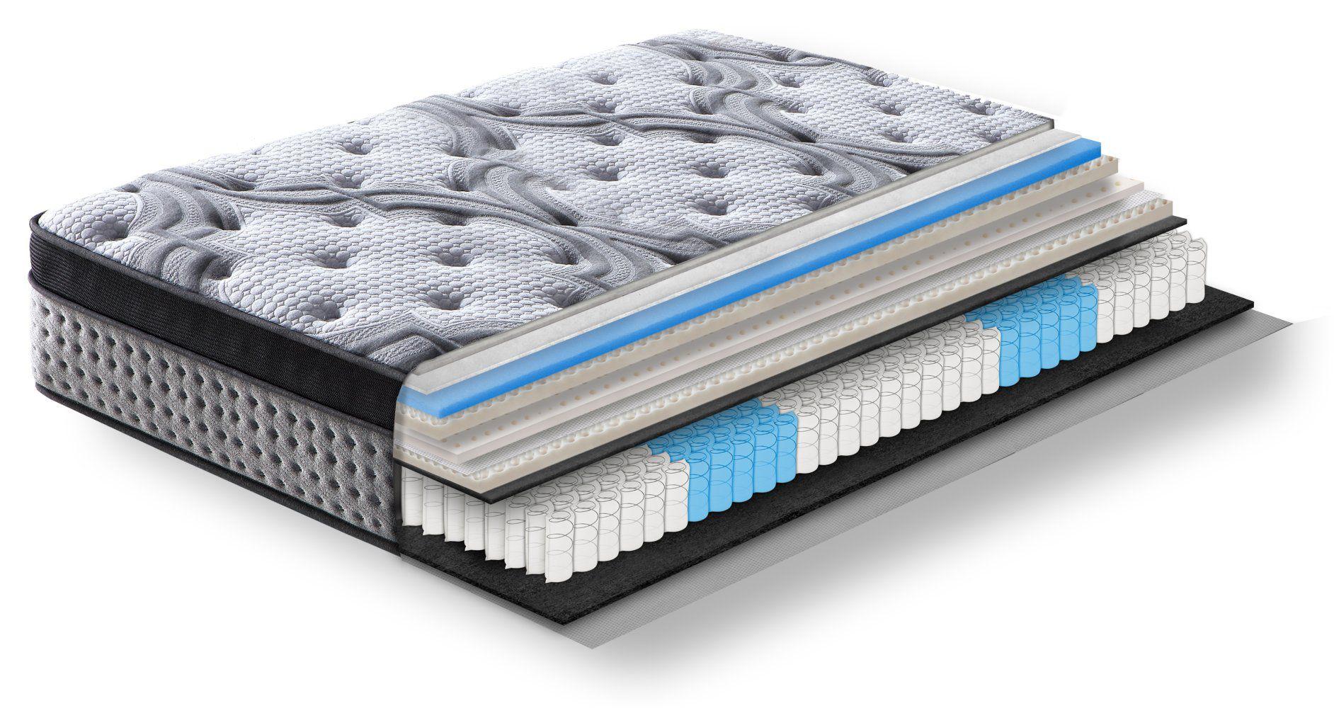 Steiner Premium Matratze Comfort mit 5-Zonen-Taschenfederkern - Größe: 90 x 200 cm, Härtegrad H3-H4, Höhe: 34 cm