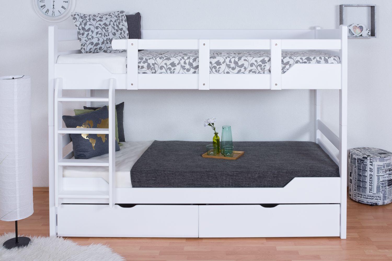 """Stockbett für Erwachsene """"Easy Premium Line"""" K12/n inkl. 2 Schubladen und 2 Abdeckblenden, Kopf- und Fußteil gerade, Buche Vollholz massiv Weiß - Maße: 90 x 200 cm, teilbar"""