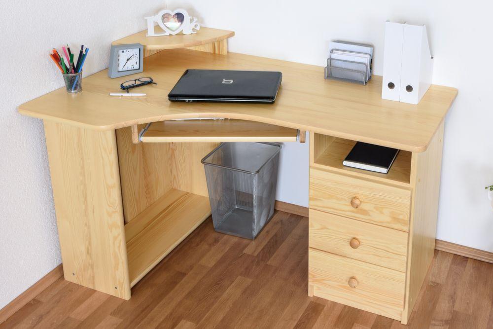 Schreibtisch Kiefer massiv Vollholz natur Junco 186 - Abmessungen: 75 x 138 x 83 cm (H x B x T)