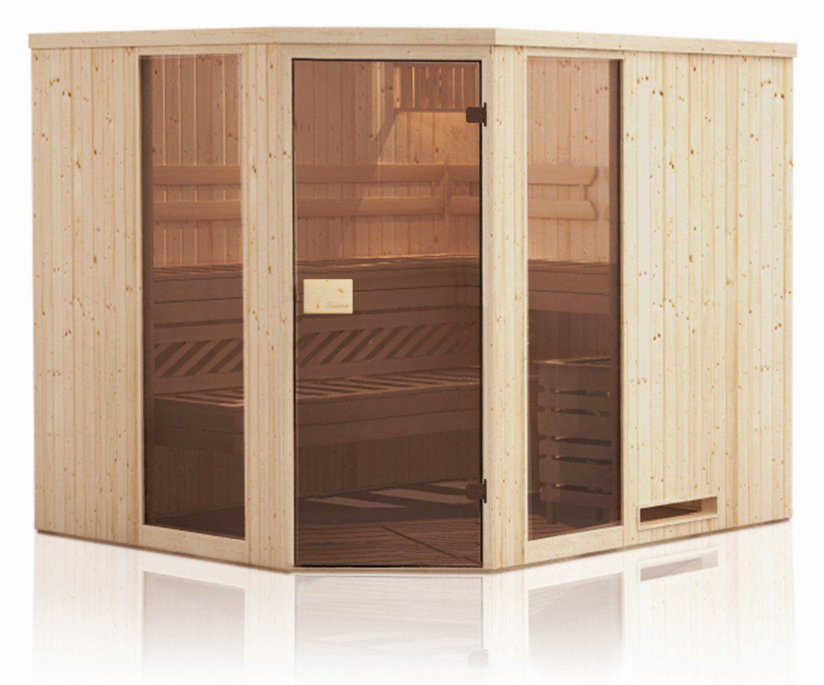 Elementsauna Tirari 68 mm mit 2 Sichtfenstern und Dachkranz - Außenmaße (B x T x H): 194 x 194 x 199 cm