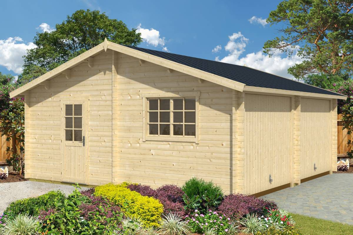 Holzgarage H91 - 44 mm Blockbohlenhaus, Grundfläche: 33,00 m², Satteldach