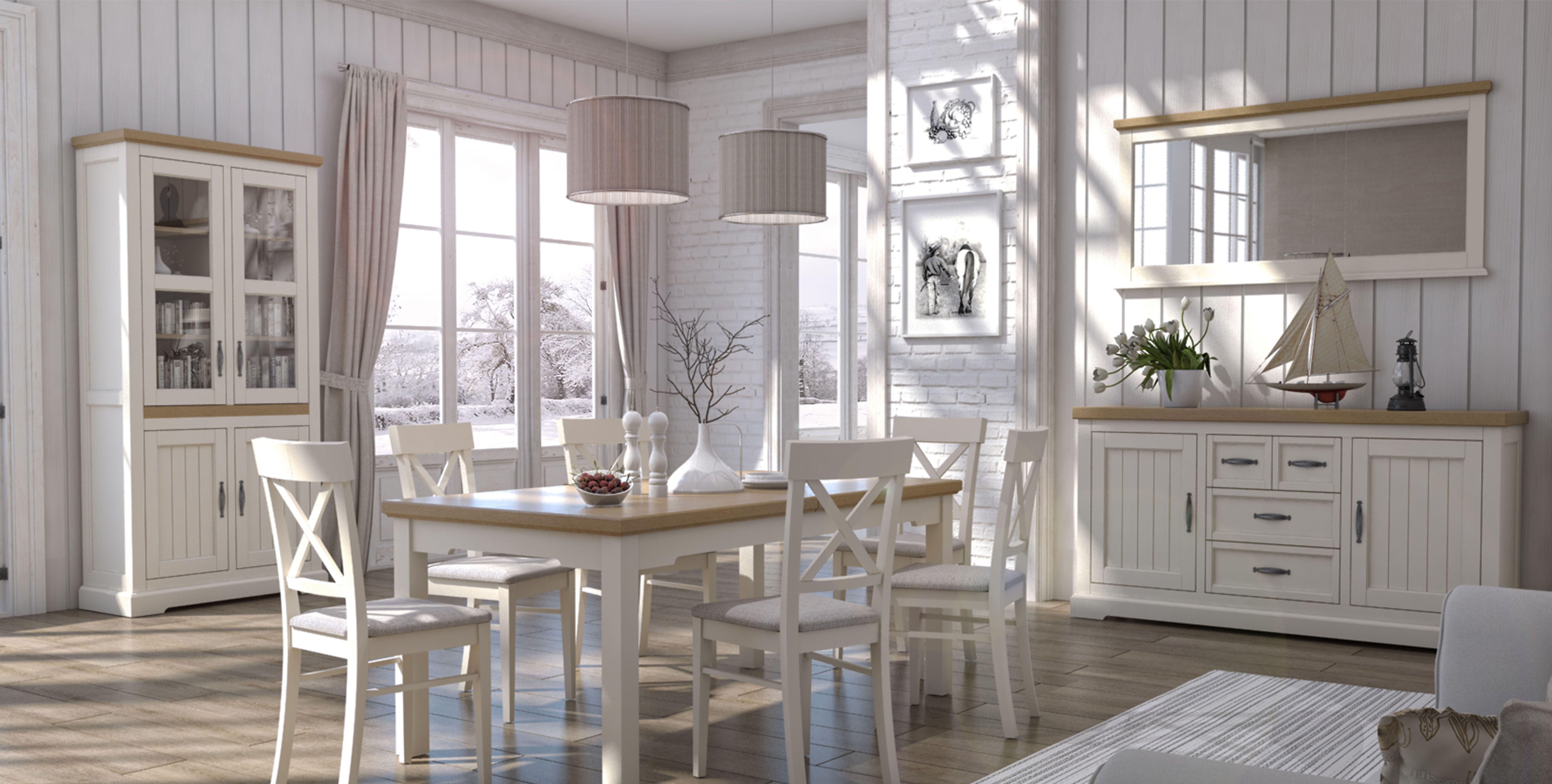 Esszimmer Komplett - Set B Solin, 10-teilig, teilmassiv, Farbe: Eiche weiß/natur