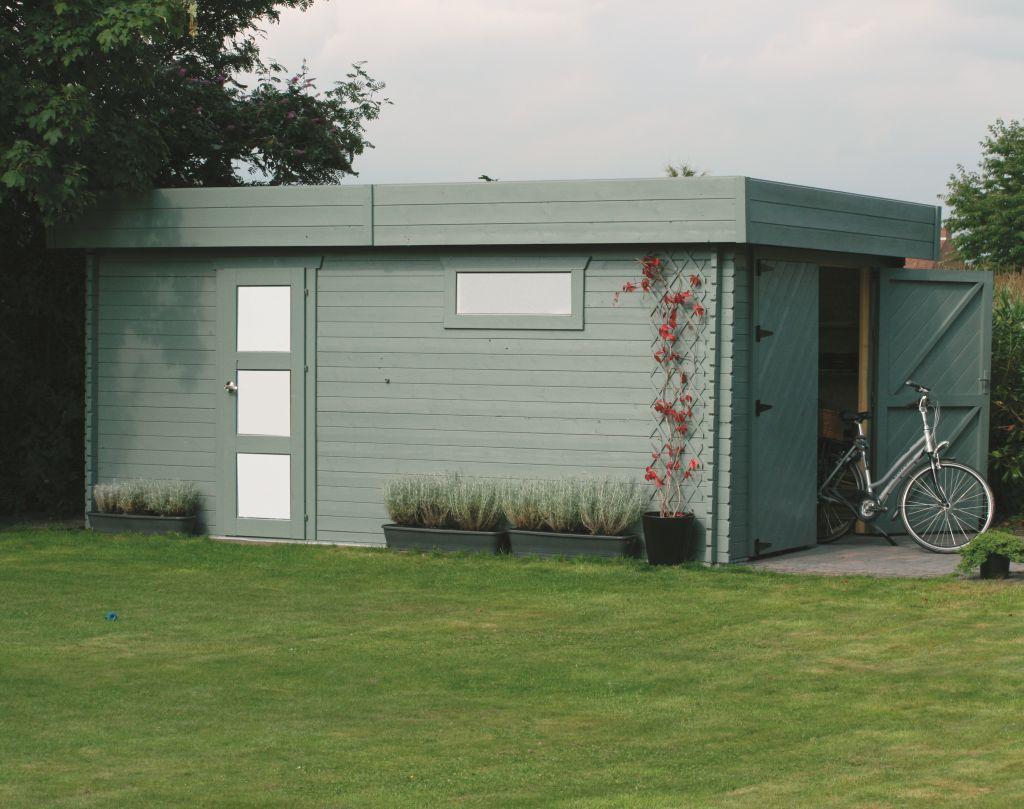 Garage Primula S8993 - 40 mm Blockbohlenhaus, Grundfläche: 17,07 m², Flachdach