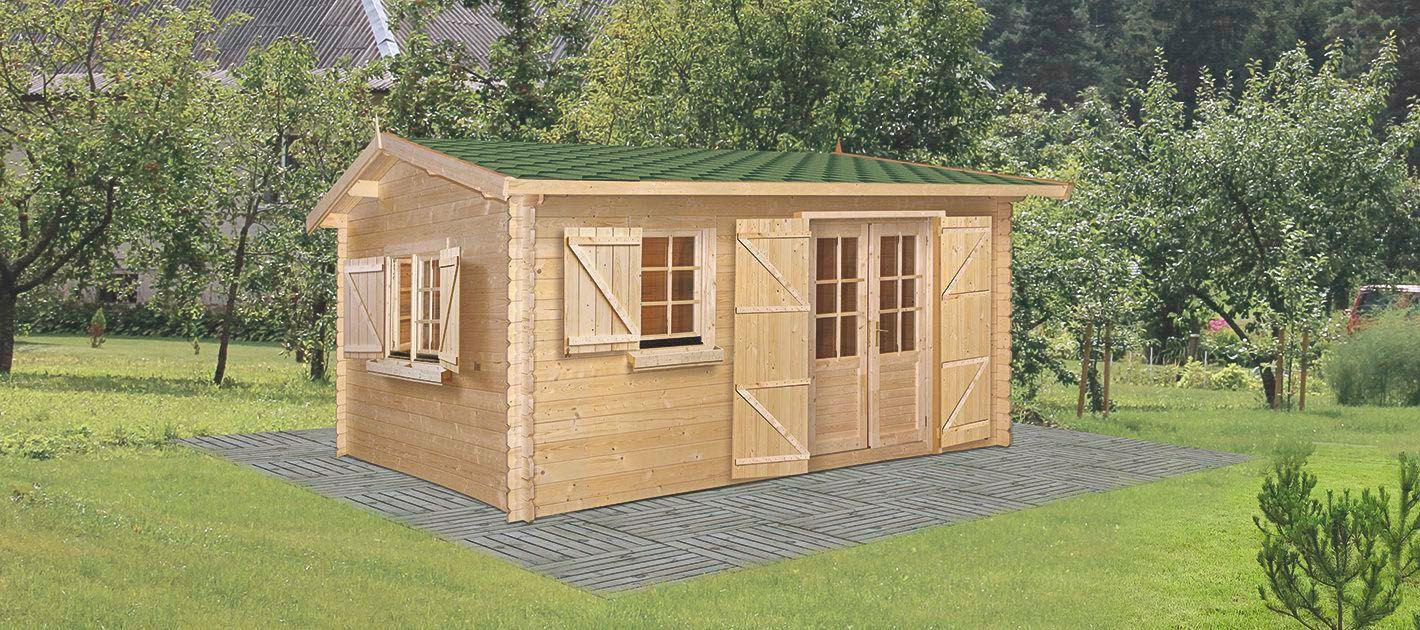 Gartenhaus GO18 - 34 mm Blockbohlenhaus, Grundfläche: 19,80 m², Satteldach