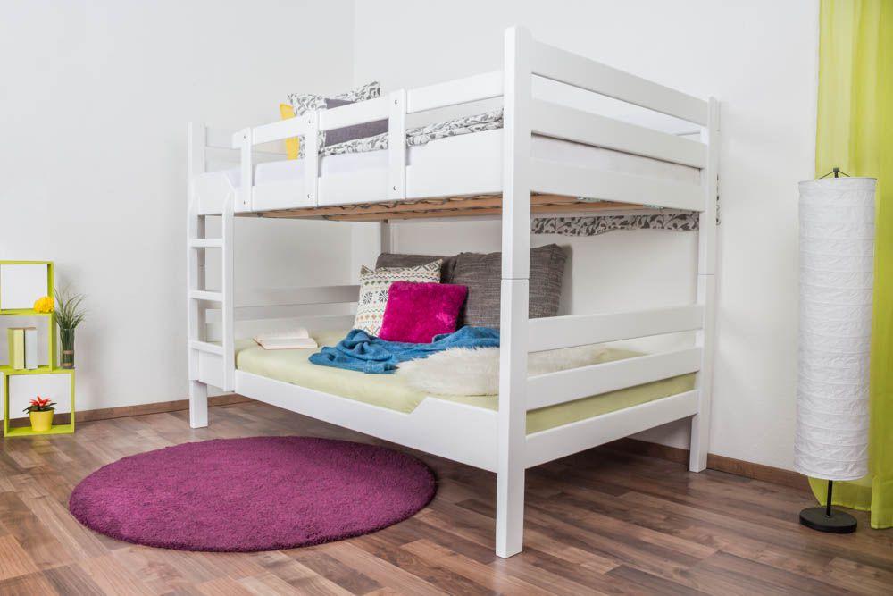 """Stockbett für Erwachsene """"Easy Premium Line"""" K16/n, Kopf- und Fußteil gerade, Buche Vollholz massiv weiß lackiert - Liegefläche: 120 x 200 cm, teilbar"""