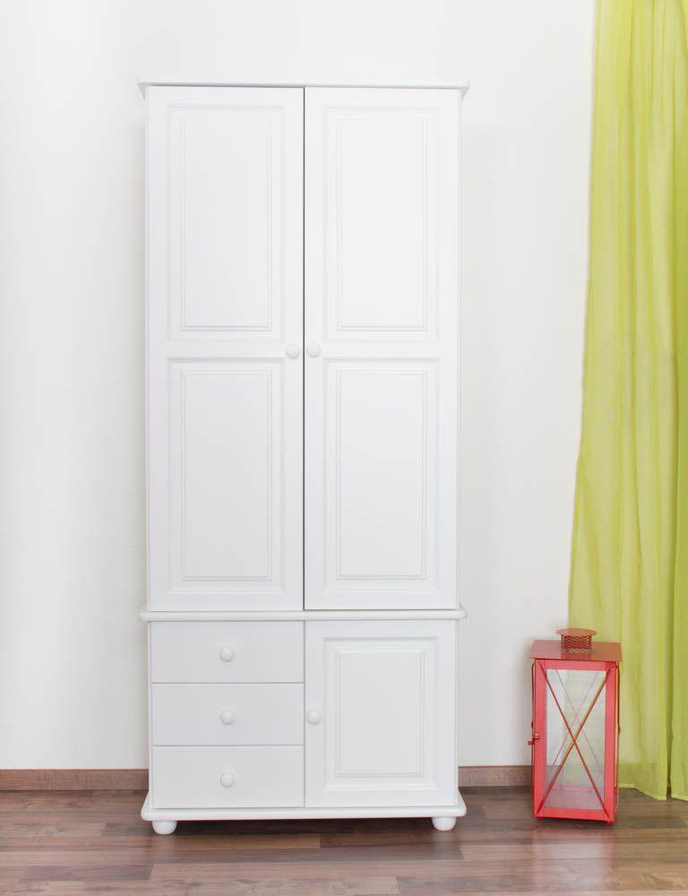 Schrank Kiefer massiv Vollholz weiß lackiert Junco 40 - Abmessung 195 x 84 x 42 cm