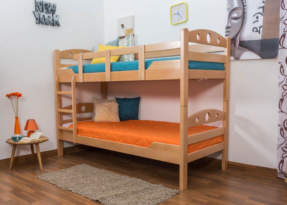 """Stockbett für Erwachsene """"Easy Premium Line"""" K11/n, Kopf- und Fußteil mit Löchern, Buche Vollholz massiv Natur - Maße: 90 x 200 cm, teilbar"""