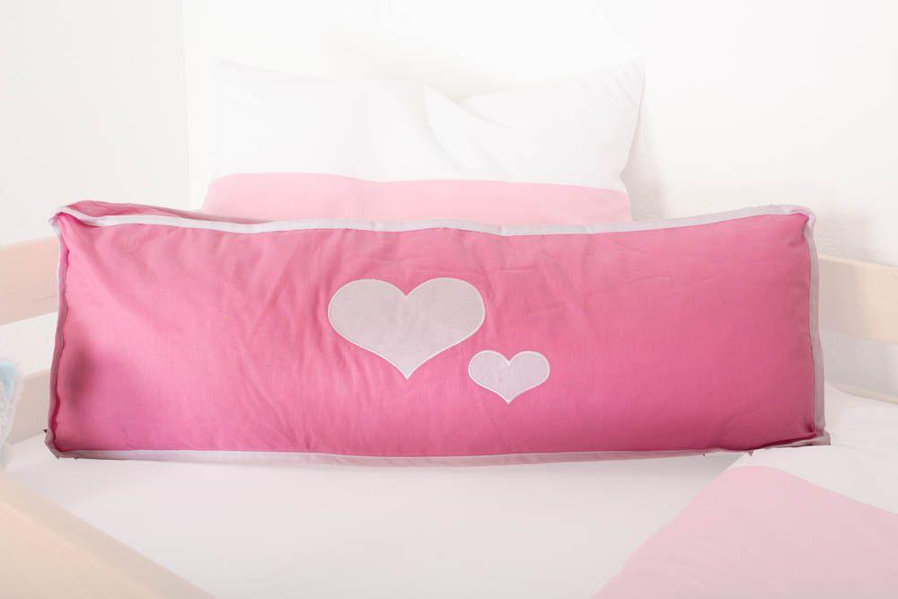 Motiv - Seitenkissen - Farbe: Herz Rosa / Weiß