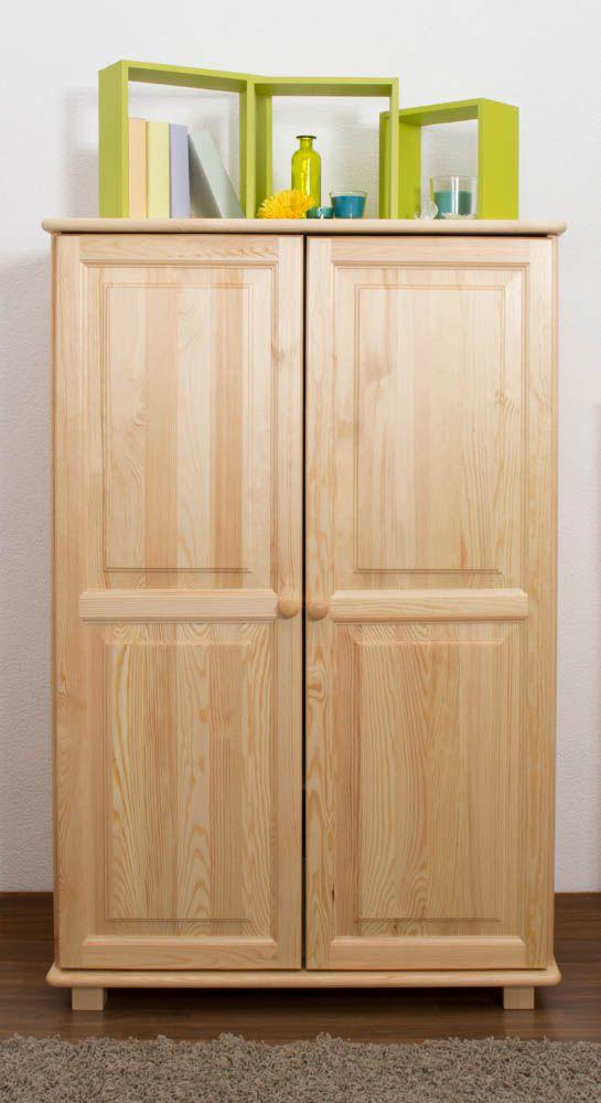Schrank Kiefer Vollholz massiv natur 016 - Abmessung 139 x 90 x 42 cm (H x B x T)